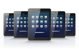Black tablets on white background. 3d render Stock Photo