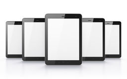 Black tablets on white background. 3d render. Just place your images on the screens Royalty Free Stock Photo