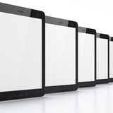 Black tablets on white background. 3d render. Just place your images on the screens Stock Photo