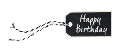 Black tag with the text Happy Birthday Stock Image