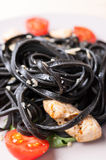 Black tagliolini pasta Royalty Free Stock Image