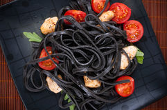Black tagliolini pasta Royalty Free Stock Photography