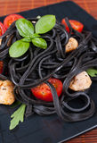 Black tagliolini pasta Royalty Free Stock Photo