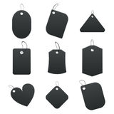 Black tags. 100% vectors - white tags, labels Stock Photography