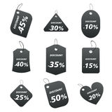 Black tags - discount. 100% vectors - colored labels, tags Vector Illustration