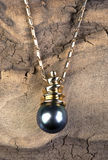 Black Tahitian Pearl. Black Tahitian pearl mounted in 18 karat gold Stock Photos