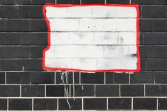 Black Tailed Wall With  White Painted Banner Background Royalty Free Stock Photos