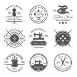Black Tailor Emblem Set. Black tailor round emblem or label set with descriptions of premium quality in tailor shop vector illustration Royalty Free Stock Photo