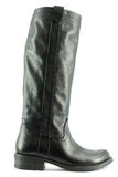 Black tall leather boot Stock Photo