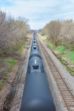 Black Tank Cars in Motion Stock Photo