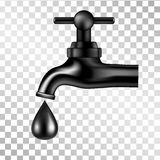 Black tap with oil drop on transparent background. Vector illustration. Royalty Free Stock Photo