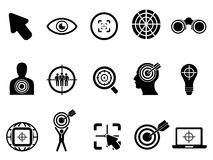 Black target icons set Stock Photography