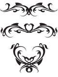 Black tattoo. Tattoo desigm which has a heart Royalty Free Stock Photos