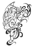Black tattoo Woman illustration. Creative Black tattoo Woman illustration Stock Images