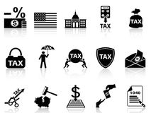 Black tax icons set Royalty Free Stock Photos