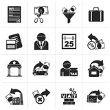 Black Taxes, business and finance icons. Vector icon set Royalty Free Stock Photo