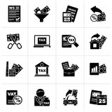 Black Taxes, business and finance icons. Vector icon set Stock Images