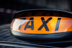 Black taxi cab in Central London. Typical black taxi cab in central London royalty free stock photo