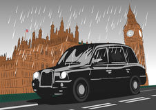 Black taxi cab moving on Westminster Bridge. In the rain Royalty Free Stock Image