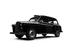 Black taxi isolated over white Stock Images