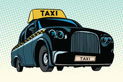 Black taxi with a yellow sign. Pop art retro vector illustration Stock Image