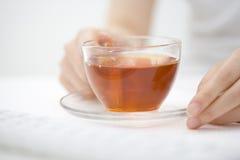 Black Tea. A glass cup of black tea Royalty Free Stock Photo