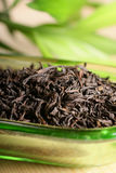 Black tea. With leaf isolated Stock Photography