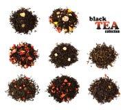 Black tea. 8 sorts of asian tea isolated on white stock photos