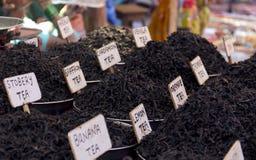 Black tea. Dry leaves of black tea on street market in India Royalty Free Stock Image