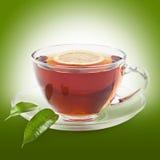 Black tea. Hot black tea with lemon Royalty Free Stock Photography