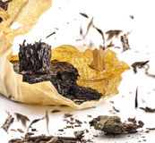 Black tea. Dried tea leaves, closeup Stock Images