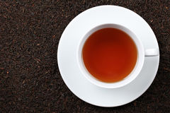 Black Tea. In a cup with lots of copy space royalty free stock photography