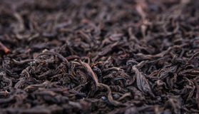 Black tea. Loose dried tea leaves, marco royalty free stock photos