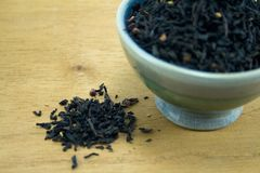 Black tea. On wooden background Stock Photography