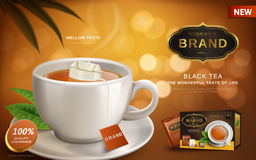 Black tea ad. With hot tea and tea bag in white cup, blur background 3d illustration royalty free illustration