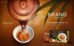 Black tea ad. With traditional Chinese tea pot pouring hot tea into a cup, 3d illustration stock illustration