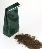 Black tea and bag Royalty Free Stock Image