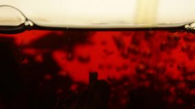 Black tea brewing in glass teapot close up. Stream of hot water poured in transparent glass teapot, where black tea leaves float, spin, whirl and rotate, slow stock video footage