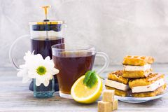 Black tea ceremony - waffles, glass full of tea, glass pot, sugar, yellow lemon, flower, tea leaves, spices on a wooden boards stock photography