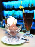 Black tea and chocolate with vanilla sweet dessert ice-cream on Royalty Free Stock Photos