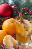 Black tea on christmas day with mandarins and nuts Royalty Free Stock Photo
