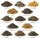 Black tea collection. Isolated tea. Piles of different famous chinese black tea varieties (also known as red tea) isolated on white background Stock Photos