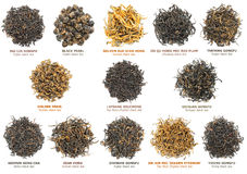 Black tea collection. Famous chinese black tea varieties (also known as red tea) isolated on white, top view stock photo