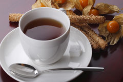 Black tea and cookies with fresh physalis. Black tea and cookies with physalis Stock Photography