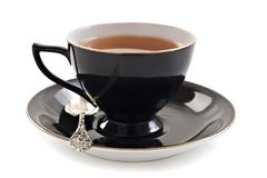 Black tea cup on white Royalty Free Stock Images