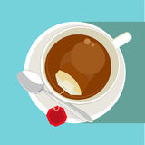 Black tea cup. White cup of tea with with red tea bag blank label on blue background. Top view. Vector illustration vector illustration