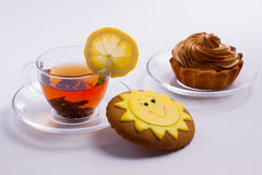 Black tea with desserts Royalty Free Stock Photography