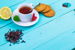 Black tea with a dogrose and oatmeal cookies Royalty Free Stock Photography