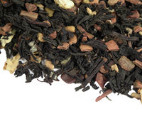 Black tea with dried fruit on a white background Stock Photos