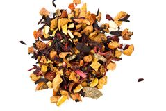 Black tea with dried fruits Stock Images